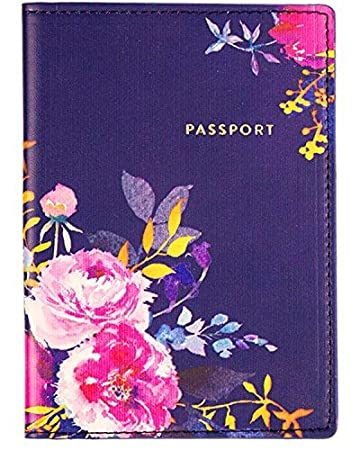 Eccolo Travel Passport Cover Case with Storage Pocket (Iridescent Let's Go)