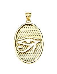 10k Yellow Gold Egyptian Eye of Horus Oval Pendant