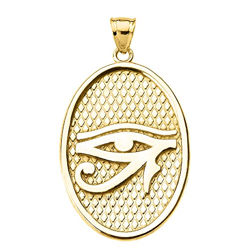 Engravable Gold Pendants - Egyptian Eye of Horus Engravable in 10k Yellow Gold Oval Pendant