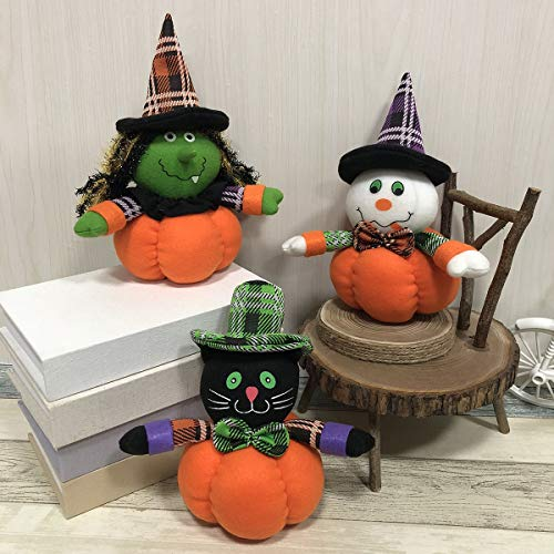 Aitey Halloween Party Decorations, Halloween Supplies Toys Pumpkin Witch Black Cat Plush Dolls Ornaments Home Bedroom Trick Treat 3Pack]()
