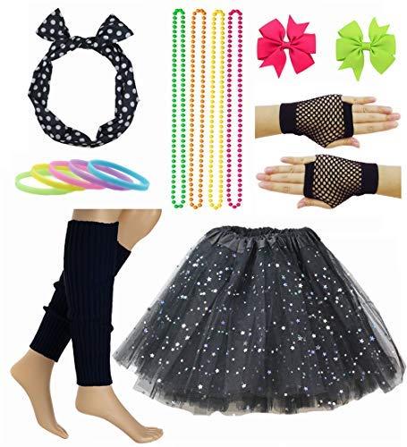Girl 80s Star Sequin Tutu Skirt with Neon Necklace Bow Headband Hair Clip Set (Black) -