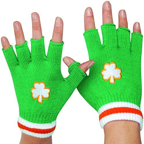 Patrick Star Costume Shorts (Star Power Irish St Patricks Day Short Woven Fingerless Gloves, Green, One Size)