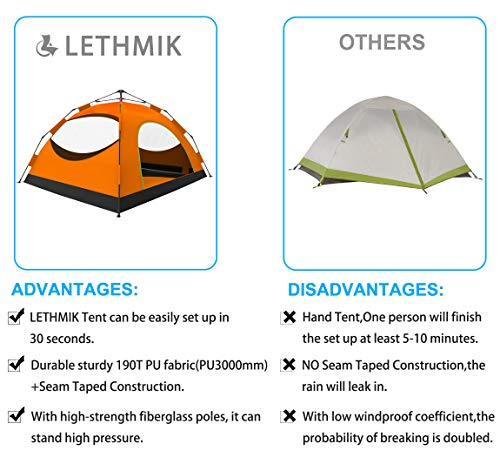 LETHMIK Backpacking Tent, Instant Automatic pop up Tent, 2-3 Person, Waterproof Lightweight Double Layer Camping Tent for Outdoor Hunting, Hiking, Climbing, Travel, Orange