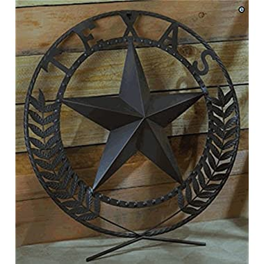 Texas Lone Star Painted Metal Craft Wreath Wall Plaque Western Style