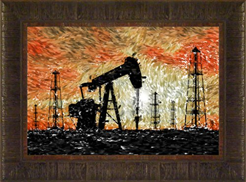 Golden Field By Todd Thunstedt 17.5x23.5 Oil Field Well Rig Sunset Texas Williston North Dakota Western Framed Art Print Wall Décor - Oil Rig Frames