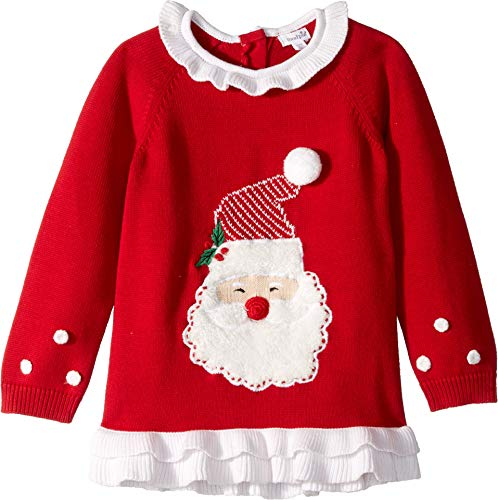Mud Pie Baby Girl's Red Santa Christmas Ruffle Sweater (Infant/Toddler) Red MD (2T-3T Toddler)