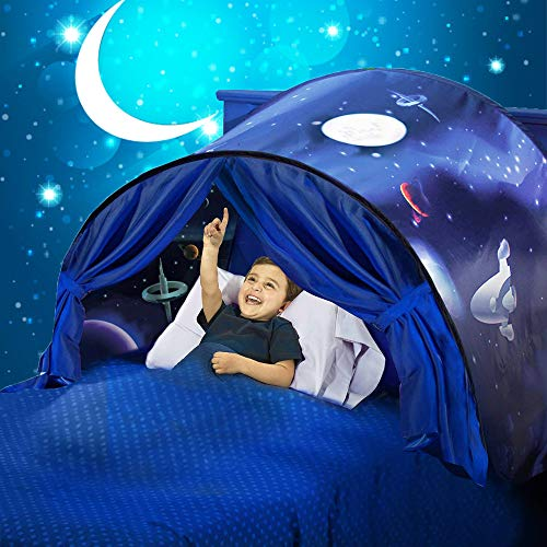 Kids Dream Tent Space Adventure Play Tents Pop up Bed Tent Boys Girls Secret Playhouse for Twin, Bunk Beds Kids Birthday Gift
