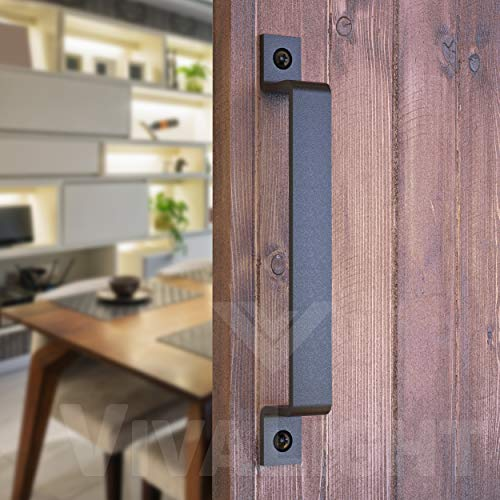 Barn Door Handle Black 10 inch Solid Steel Gate Handle Pull for Sliding Barn Doors Gates Garages Sheds