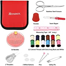 Homdox Mini Sewing Kit for Home, Travel, Camping & Emergency - Sewing Supplies with Scissors, Thimble, Thread, Needles, Tape Measure, Carrying Case and Accessories