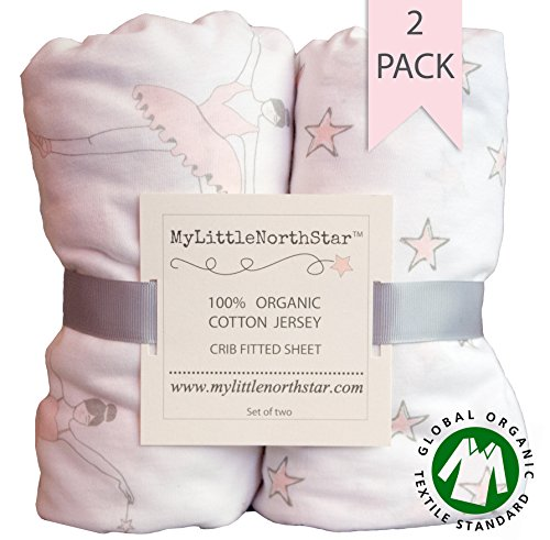 Organic Jersey Cotton Fitted Crib Sheets Ballerina 2 pack