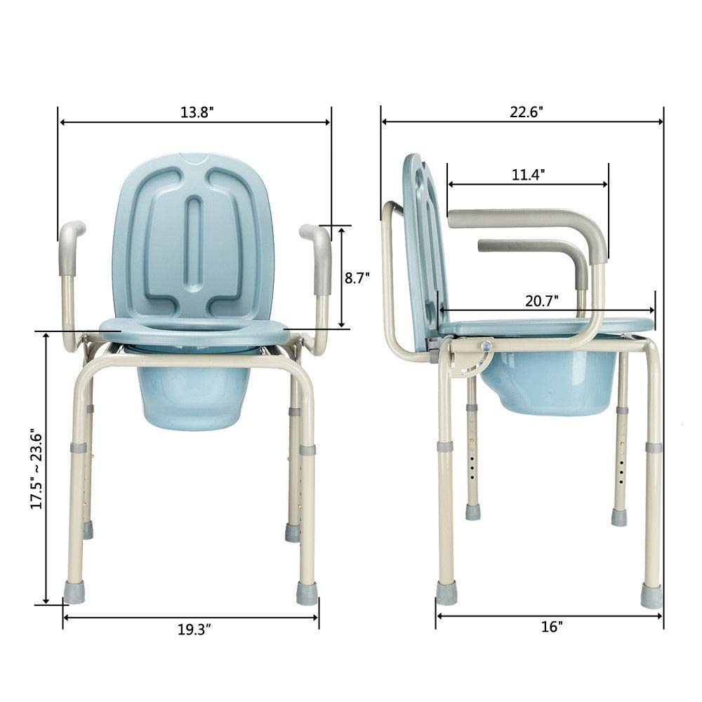 Height Adjustable Bedside Commode Seat Toilet Potty Chair Toilet Safety Frame Portable Versatile Multifunctional Elderly Disabled Handicapped People Hospital Medical Slip-Resistant Rubber Tips Chair by HPW (Image #2)