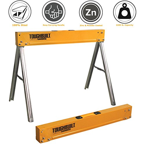 ToughBuilt Folding Sawhorse / Jobsite Table - Sturdy, Durable, Lightweight, Heavy-Duty, 100% High Grade Steel, 1100lb Capacity, Easy Carry Handle (TB-C300) (Folding Steel Sawhorse)