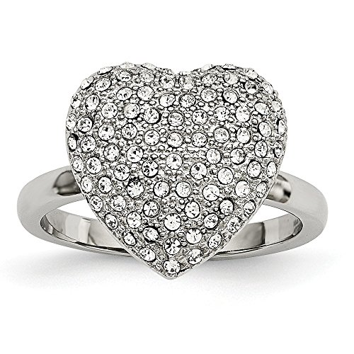 Stainless Steel Polished W/Preciosa Crystal Heart Ring Size 8 -