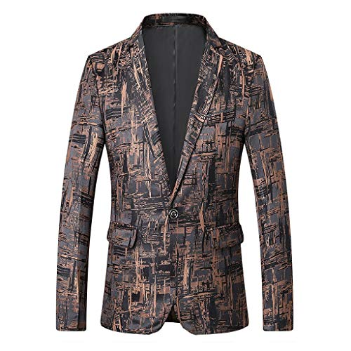 Fashion Suit Jacket for Men Stylish Print Suit Blazer Business Wedding Party Outwear Jacket Tops Blouse Khaki -