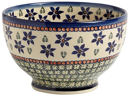 Polish Pottery Blue & Green Floral Fern Footed Serving Bowl, 7