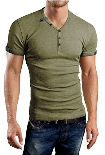 Aiyino Men's Summer Casual V-Neck Button Cuffs Cardigan Short Sleeve T-Shirts L-Army Green ()
