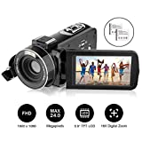 Video Camera, AiTechny Camcorder with Full HD 1080P 24MP Image, 3.0 inch LCD 270 Degrees Rotatable Screen, 16X Digital Zoom Camera Recorder, 2 Batteries