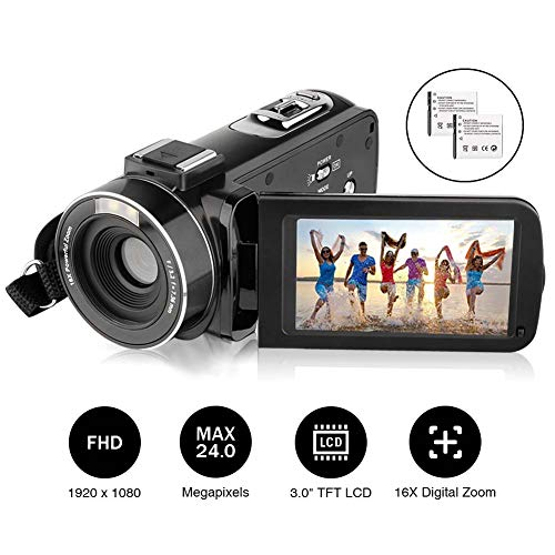 Video Camera Camcorder AiTechny HD 1080P 24.0MP Digital Camera 3.0 inch LCD 270 Degrees Rotatable Screen 16X Digital Zoom Camera Recorder 2 Batteries