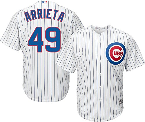 Majestic Jake Arrieta Chicago Cubs MLB Youth White Home Cool Base Replica Jersey (Size Medium 10-12)