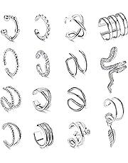 Milacolato Kvinnors justerbara icke-piercade öronmanschetter örhängen klämma på broskhelix wrap öra smyckesset
