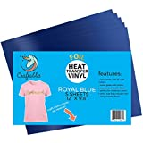 """Craftables Royal Blue Foil Heat Transfer Vinyl for Craft Cutters - (5) Reflective 9.8"""" x 12"""" Sheets"""