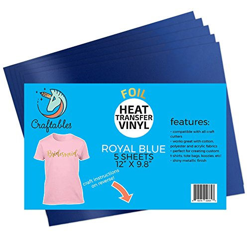 Craftables Royal Blue Foil Heat Transfer Vinyl for Craft Cutters - (5) Reflective 9.8