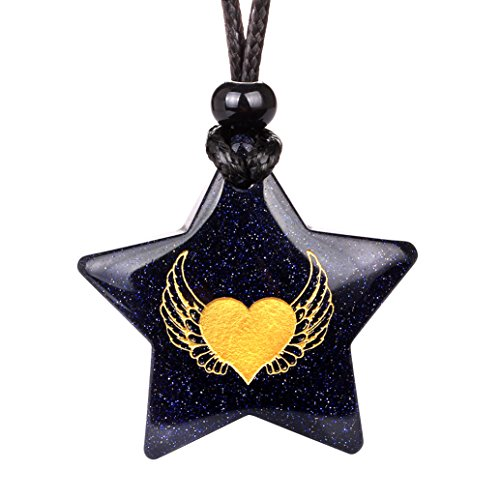 - Magical Super Star Angel Wings Heart Love Powers Amulet Goldstone Lucky Charm Pendant Adjustable Necklace