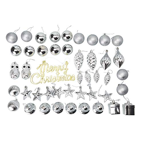 45-Pack Christmas Tree Ornaments Set - Assorted Silver Shatterproof Balls, Baubles, Pendants, Stars, Owls, Bells, Pine Cones, Gift Boxes, 10 Festive Holiday Designs, Winter Hanging Plastic Decoration
