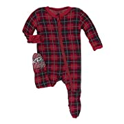 Kickee Pants Print Footie with Zipper Plaid (3-6 Months)