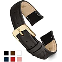 Speidel Genuine Leather Watch Band 12mm Black Calf Skin Replacement Strap, Stainless Steel Gold Tone Metal Buckle Clasp, Watchband Fits Most Watch Brands