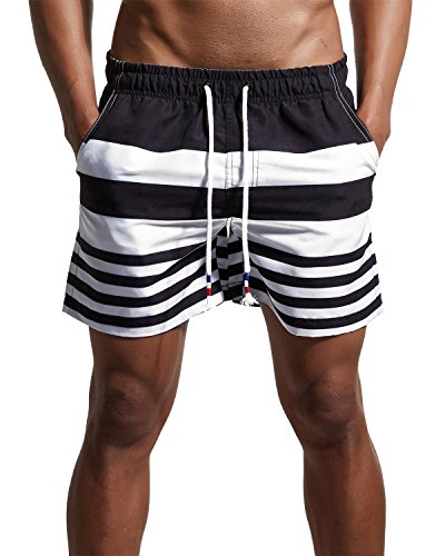 Men's Stripe Swim Trunks Quick Dry Casual Swim Shorts Black 36/Tag Asia XXL by YuKaiChen