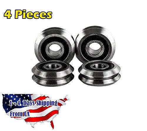 RM2-2RS 3/8 inch V Groove Roller Bearing Rubber Sealed Line Track (4PCS)