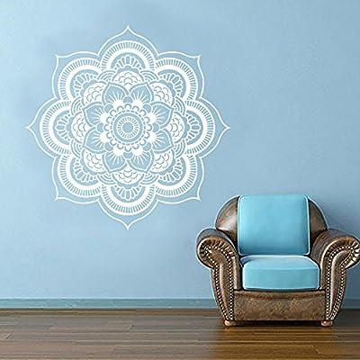 "Wall Decal Decor Yoga Flower Mehndi Indian Mandala OM Buddha Symbol Wall Decal Buddhism Decor Art Sticker VInyl Mural(44""h x44""w, white)"