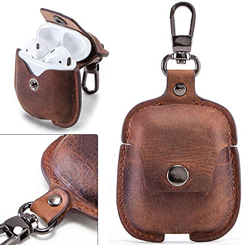 for AirPods Case, Customizable Genuine Leather Case Cover, Portable Protective Case with Clip, Cover Shockproof for…