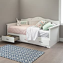 South Shore Tiara Kids Twin Daybed with 3 Storage Drawers, Pure White