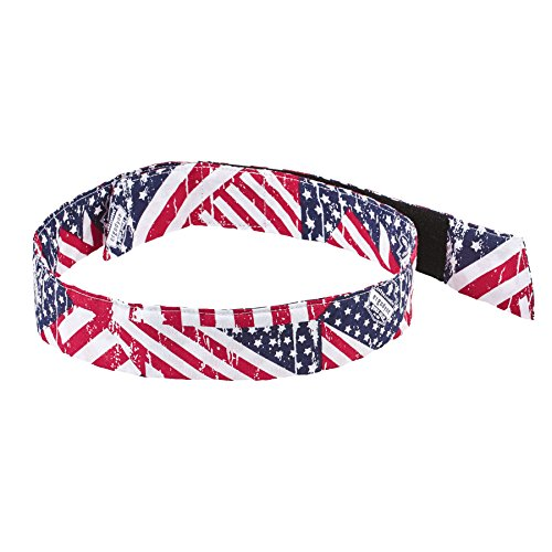 Ergodyne Chill-Its 6705 Evaporative Polymer Cooling Bandana - Hook & Loop Closure, Stars and Stripes