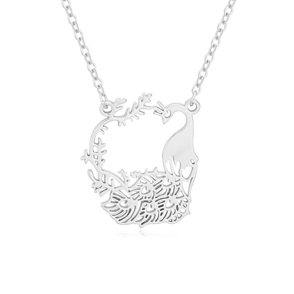 SENFAI Gold//Rose Gold//Rhodium Pleated Cartoon Peacock Pendant Necklace 18