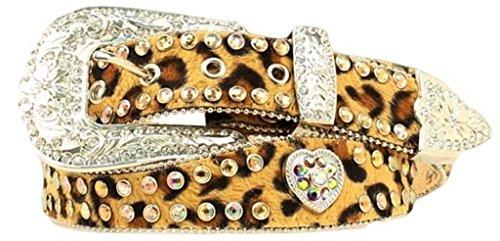 Ladies Blazin Roxx by Nocona Faux Leopard Rhinestone Heart Concho Belt (Small)