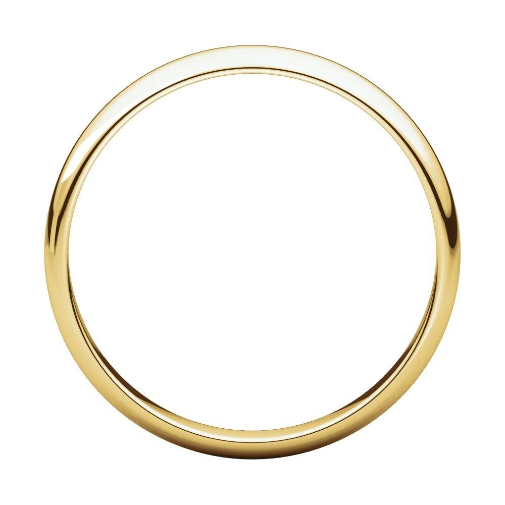 14K Yellow Gold 3mm Half Round Light Band