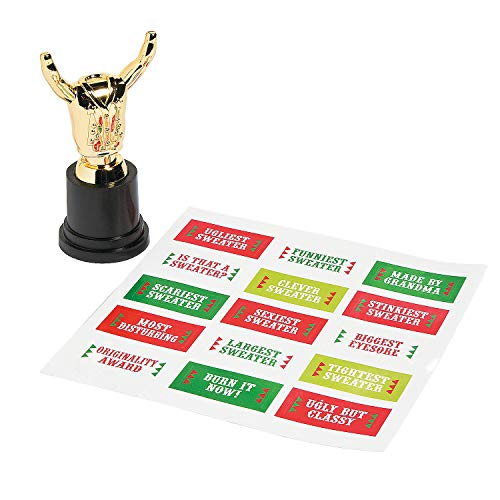 Fun Express - Ugly Sweater Costume Trophy for Christmas - Stationery - Awards - Trophies & Awards - Christmas - 12 Pieces