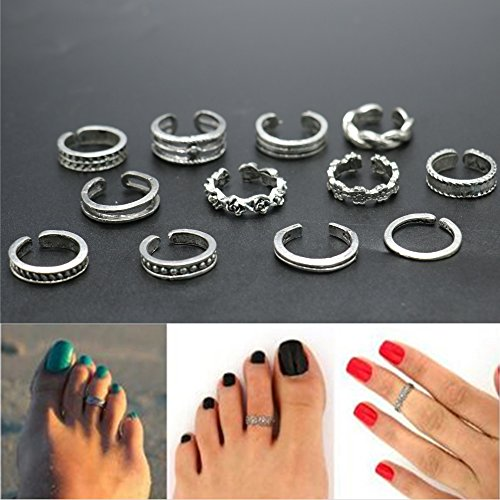 IDS 12 Pcs Toe Ring Sets Mix Celebrity Fashion Simple Retro Carved Flower Adjustable Toe Rings