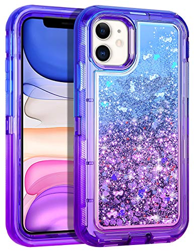 Wollony for iPhone 11 Case Glitter, Heavy Duty Girly Liquid Bling Quicksand 3 in 1 Hybrid Impact Resistant Shockproof Hard Bumper Soft Clear Rubber Protective Cover for iPhone 11 6.1inch Purple-Blue