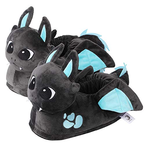 corimori 1847 - Dragon Spark Cute Plush 3D Animal Shaped Slippers, Funny Lounge Shoes, Childrens Sizes 9-2