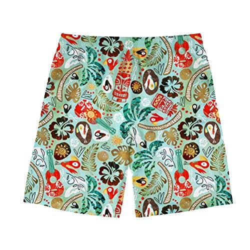 FOR U DESIGNS Men's Quick Dry Drawstring Waist Swim Trunks Hawaiian Village Printed Board Shorts with Mesh Lining ()