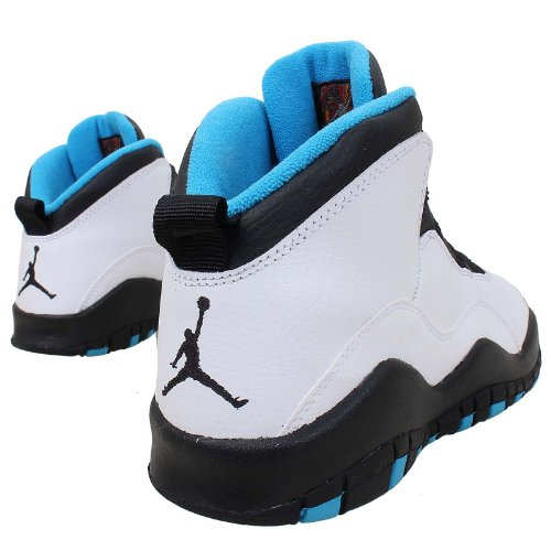 NIKE Air Jordan Junior GS Große Kinder Retro 10 Basketballschuhe Weiß / Dk Powder Blau-Schwarz