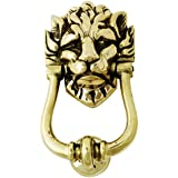 Solid Brass Lions Head Door Knocker - Large Number 10 Downing Street Lion Knocker by Heritage Casting