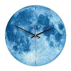 Succper Luminous Moonlight Wall Clock 3D Watch Moon Glow in The Dark Clock Kids Boys, Girls, Baby Playroom Orange, Blue, Gray, Four Colors