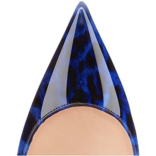 Pompe Scarpe Tacchi Blu Vernice In Con Spillo Delle Aguzza Modemoven A Punta I Donne Leopardo Sesso 0qg0w