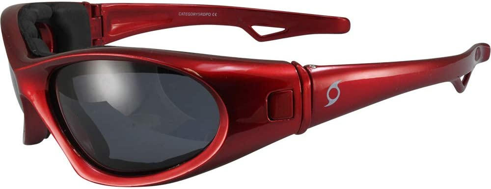 Hurricane Category-5 Jet Ski Water-Sport Floating Red Goggles Interchangeable Sunglasses to Goggles with Polarized Smoke Lens