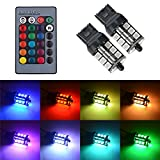 7440 led bulb blue - 7440 T20 LED RGB Bulb Amber White Red Multicolor 16 Color Changing Brake Lights Turn Signal Reverse Tail Bright Strobe Car Trunk Remote Control Switch Kit Error Free Plug 12V 5050SMD Replacement【1797】